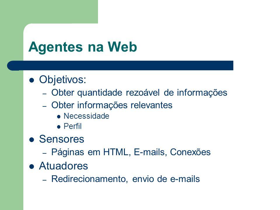 Agentes na Web Objetivos: – Obter quantidade rezoável de informações – Obter informações relevantes Necessidade Perfil Sensores – Páginas em HTML, E-m