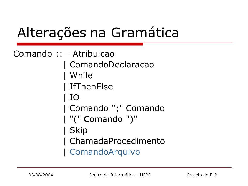03/08/2004 Centro de Informática – UFPE Projeto de PLP Alterações na Gramática ComandoArquivo ::= openFile ( Id , Expressao )   writeFile ( Id , Expressao )   readFile ( Id )   seek ( Id , Expressao )   close ( Id )   delete ( Expressao )   reset ( Id )
