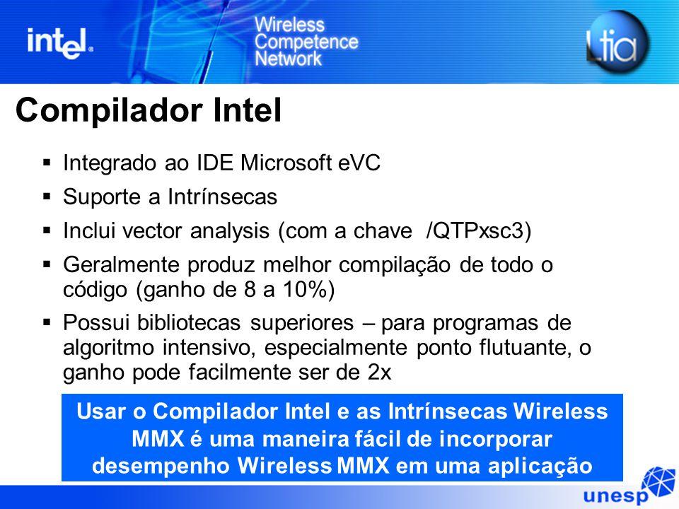Compilador Intel  Integrado ao IDE Microsoft eVC  Suporte a Intrínsecas  Inclui vector analysis (com a chave /QTPxsc3)  Geralmente produz melhor c