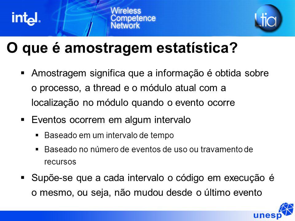 O que é amostragem estatística?  Amostragem significa que a informação é obtida sobre o processo, a thread e o módulo atual com a localização no módu