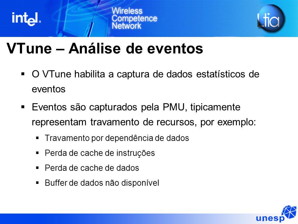 VTune – Análise de eventos  O VTune habilita a captura de dados estatísticos de eventos  Eventos são capturados pela PMU, tipicamente representam tr