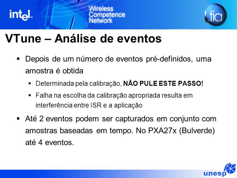 VTune – Análise de eventos  Depois de um número de eventos pré-definidos, uma amostra é obtida  Determinada pela calibração, NÃO PULE ESTE PASSO! 