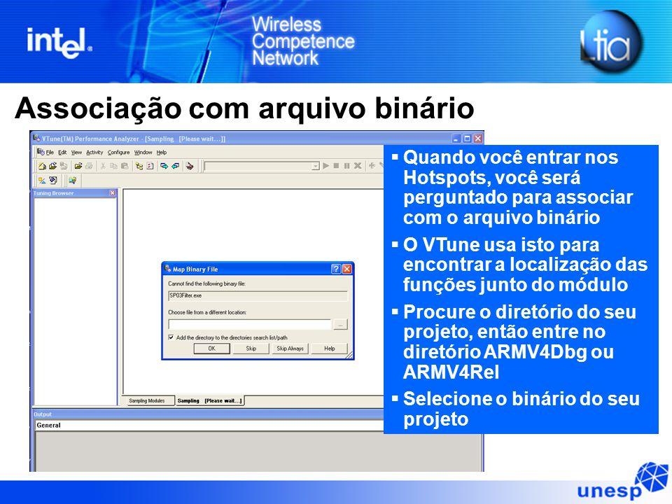 Associação com arquivo binário  Quando você entrar nos Hotspots, você será perguntado para associar com o arquivo binário  O VTune usa isto para enc