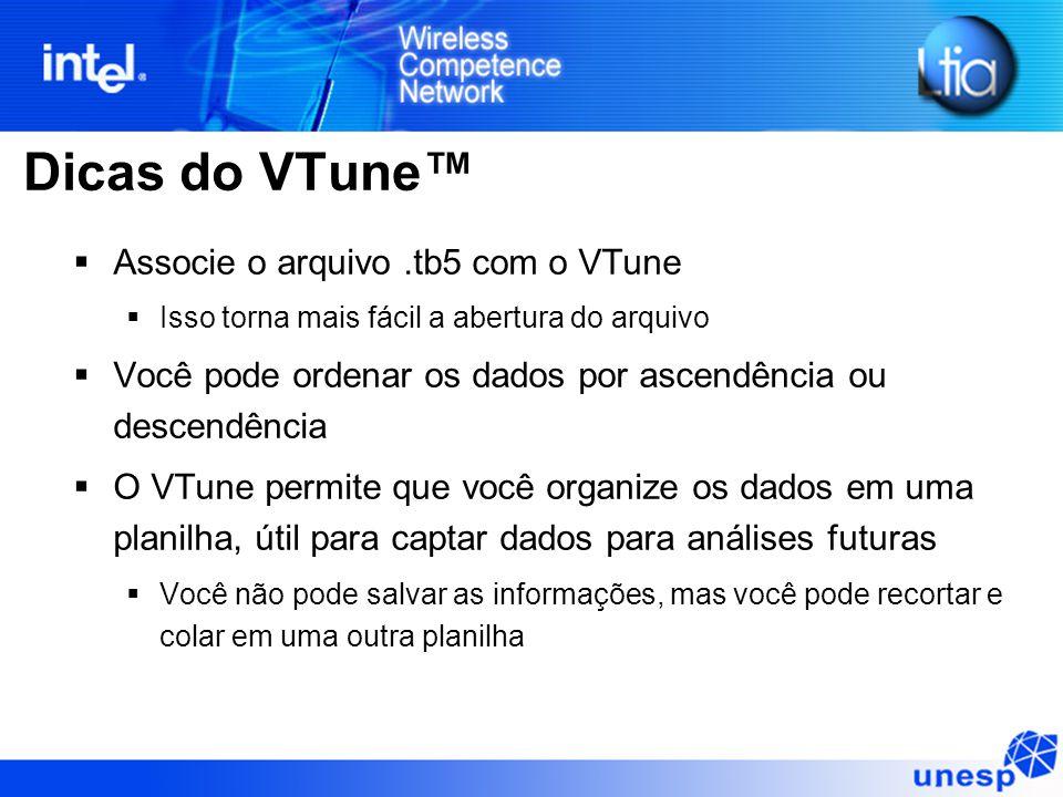 Dicas do VTune™  Associe o arquivo.tb5 com o VTune  Isso torna mais fácil a abertura do arquivo  Você pode ordenar os dados por ascendência ou desc