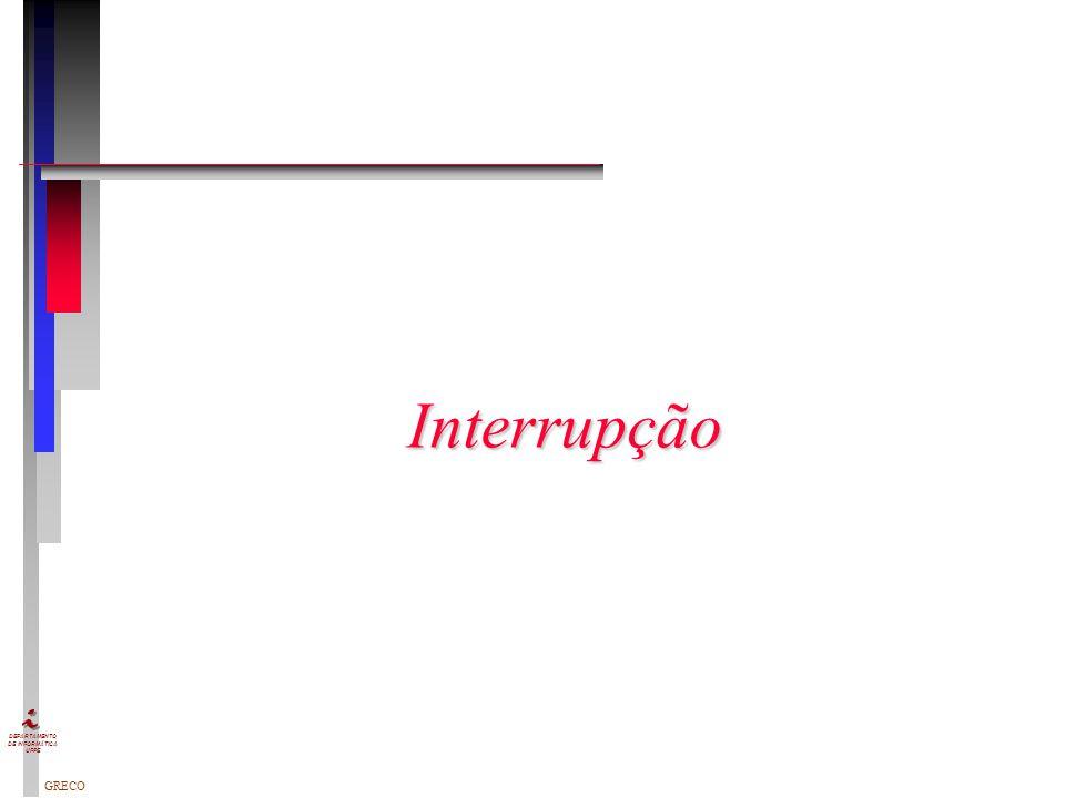 GRECO DEPARTAMENTO DE INFORMÁTICA UFPE n I/O programado n I/O dirigido por interrupção n Acesso Direto à Memória (DMA) Técnicas para entrada de um blo