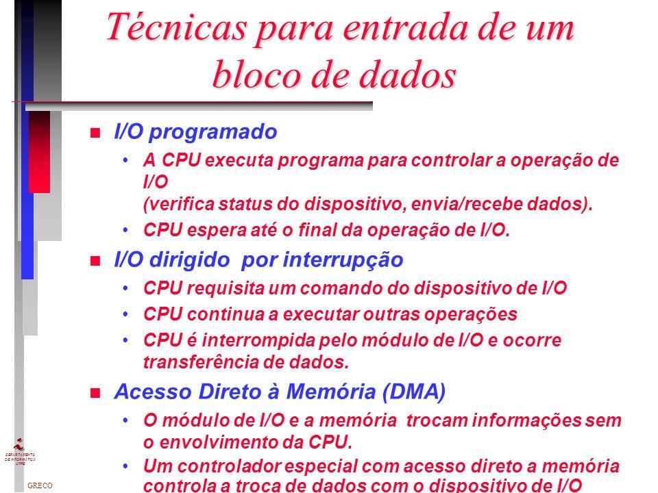 GRECO DEPARTAMENTO DE INFORMÁTICA UFPE Tratamento de Interrupções n Mecanismo de Interrupção –Dispositivo I/O ativa IRQx –8259A ativa INT para a CPU –
