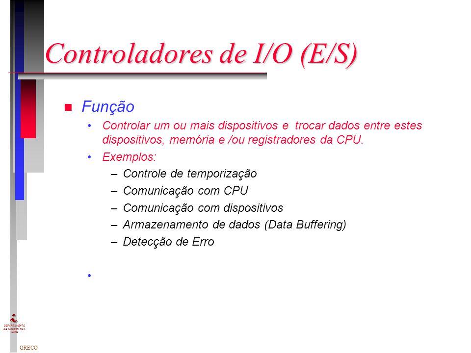 GRECO DEPARTAMENTO DE INFORMÁTICA UFPE Controladores de I/O (E/S) n Função Controlar um ou mais dispositivos e trocar dados entre estes dispositivos, memória e /ou registradores da CPU.