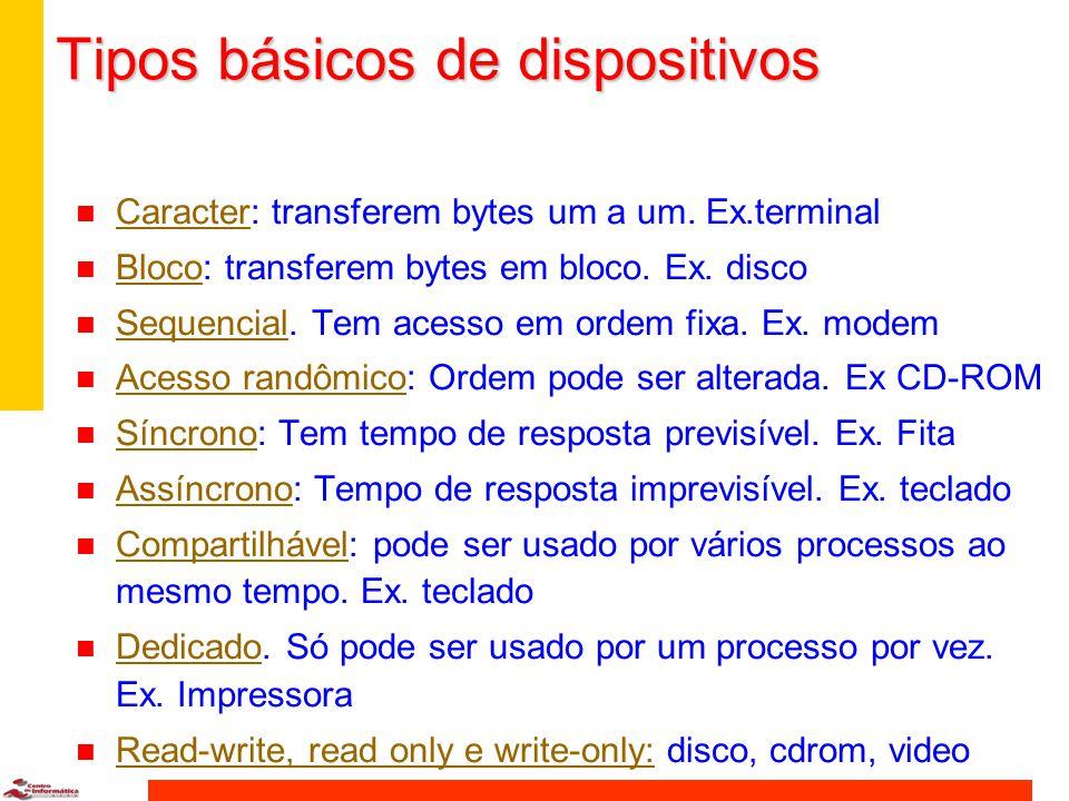 Tipos básicos de dispositivos n Caracter: transferem bytes um a um.