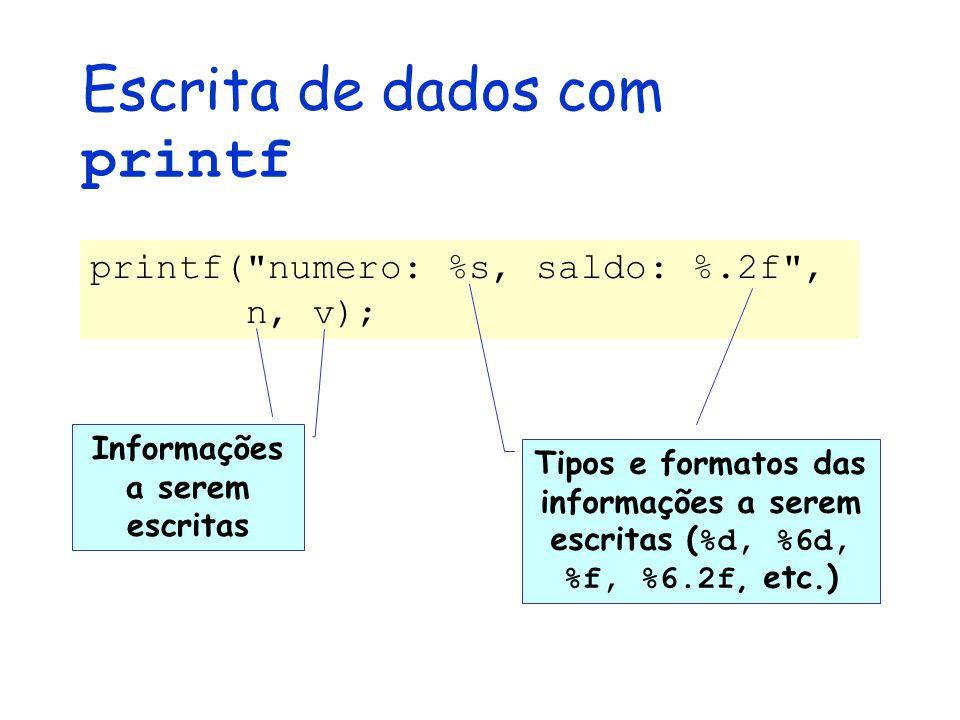 Escrita de dados com printf printf( numero: %s, saldo: %.2f , n, v); Informações a serem escritas Tipos e formatos das informações a serem escritas ( %d, %6d, %f, %6.2f, etc.)