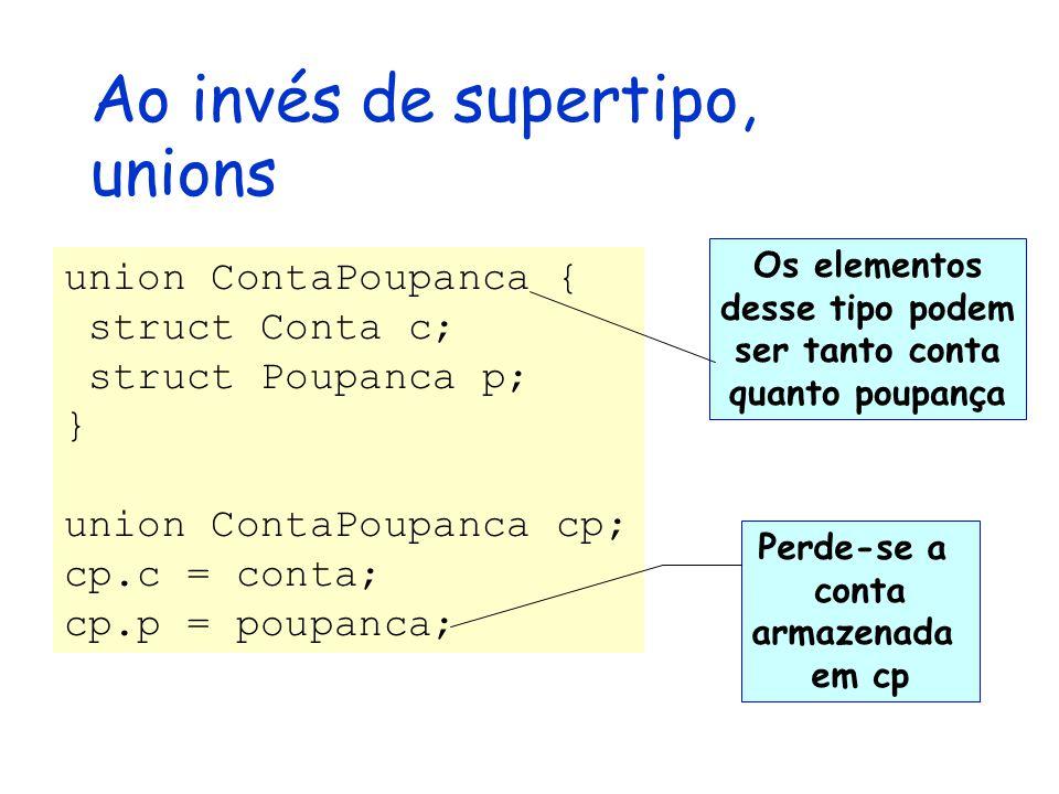 Ao invés de supertipo, unions union ContaPoupanca { struct Conta c; struct Poupanca p; } union ContaPoupanca cp; cp.c = conta; cp.p = poupanca; Os elementos desse tipo podem ser tanto conta quanto poupança Perde-se a conta armazenada em cp