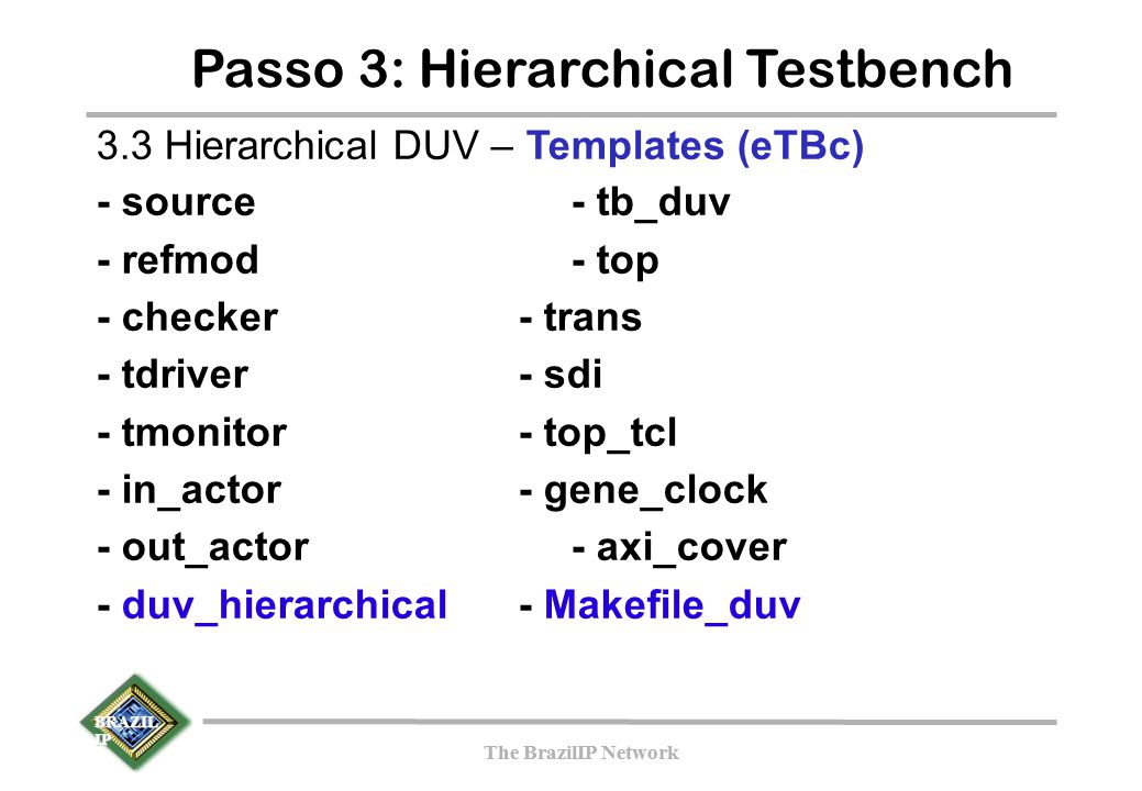 BRAZIL IP The BrazilIP Network BRAZIL IP The BrazilIP Network Passo 3: Hierarchical Testbench 3.3 Hierarchical DUV – Templates (eTBc)‏ - source- tb_du