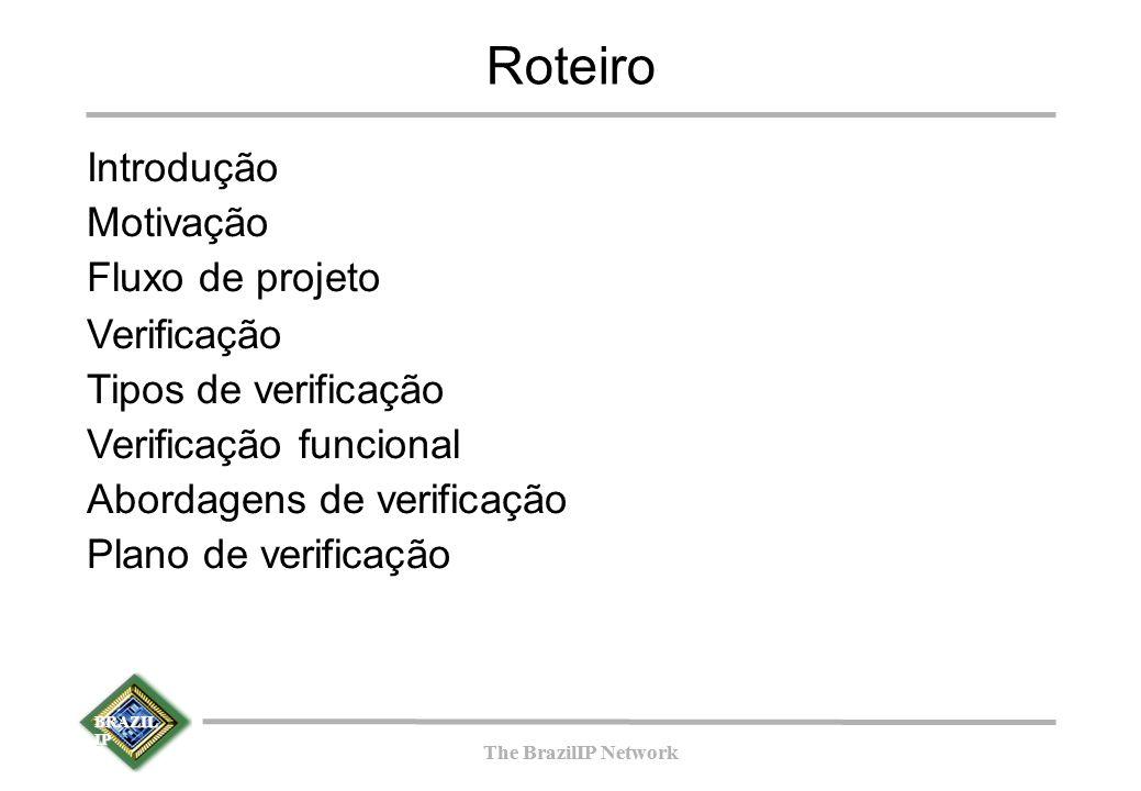 BRAZIL IP The BrazilIP Network BRAZIL IP The BrazilIP Network Verificação funcional Para realizar a verificação funcional necessita-se de: Um projeto a ser verificado denominado DUV (Design Under Verification).