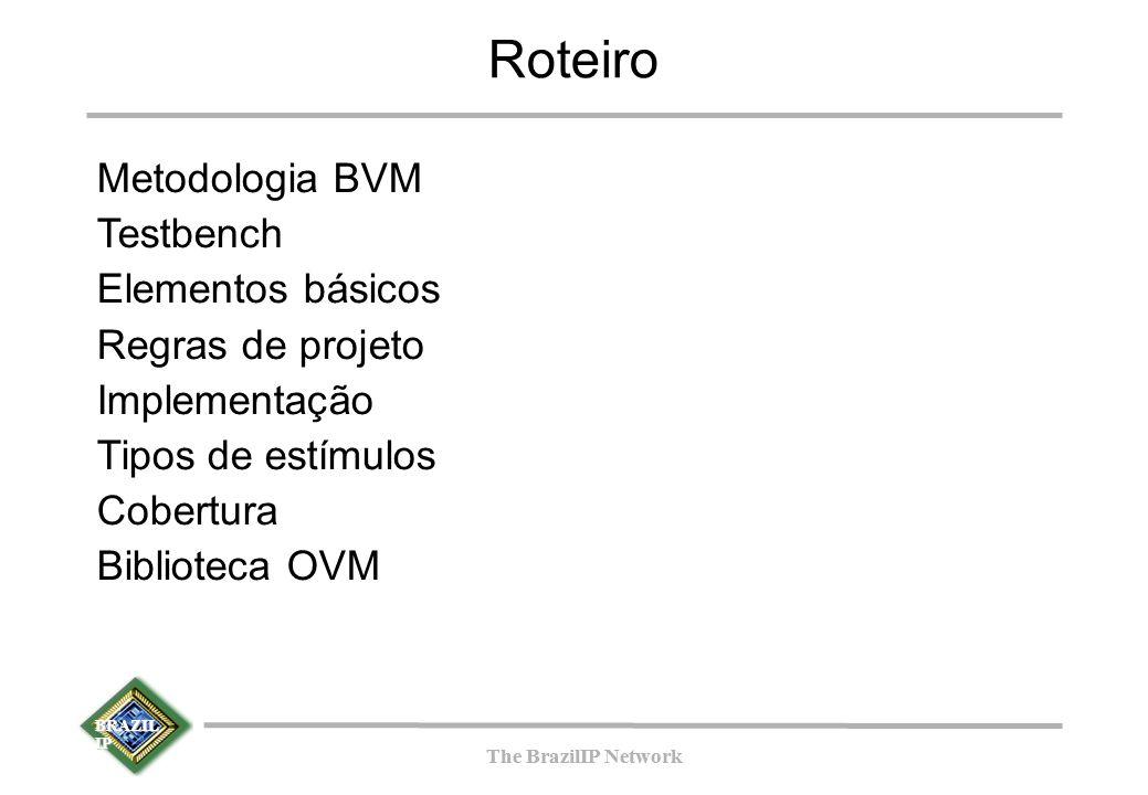BRAZIL IP The BrazilIP Network BRAZIL IP The BrazilIP Network top tb_duv Passo 4: Full Testbench tdriver source checker refmod Design Under Verification duv monit or out _ acto r Templates (eTBc)