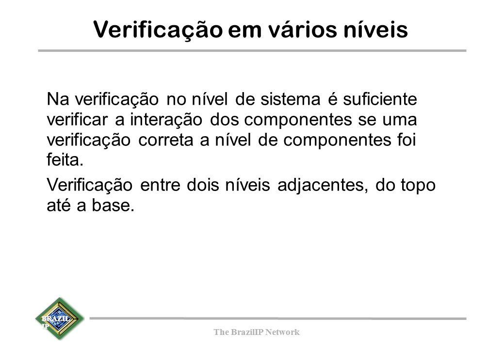 BRAZIL IP The BrazilIP Network BRAZIL IP The BrazilIP Network Verificação em vários níveis Na verificação no nível de sistema é suficiente verificar a interação dos componentes se uma verificação correta a nível de componentes foi feita.