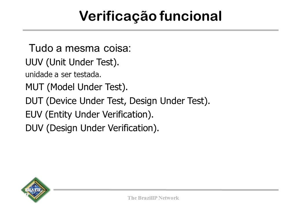 BRAZIL IP The BrazilIP Network BRAZIL IP The BrazilIP Network Verificação funcional Tudo a mesma coisa: UUV (Unit Under Test).