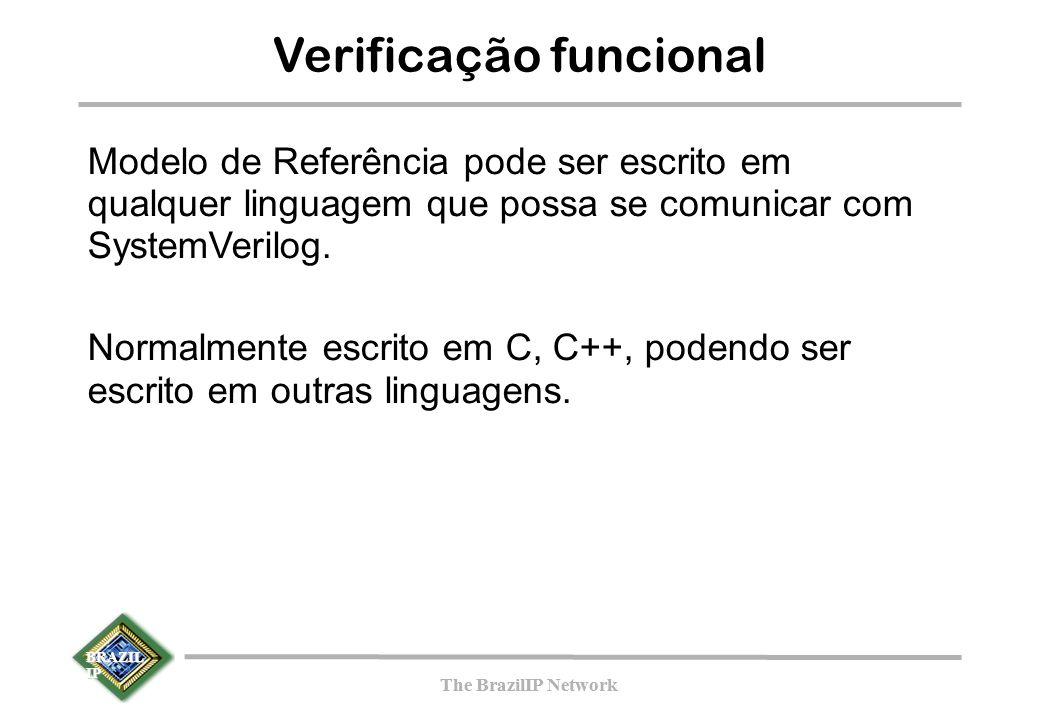 BRAZIL IP The BrazilIP Network BRAZIL IP The BrazilIP Network Verificação funcional Modelo de Referência pode ser escrito em qualquer linguagem que possa se comunicar com SystemVerilog.