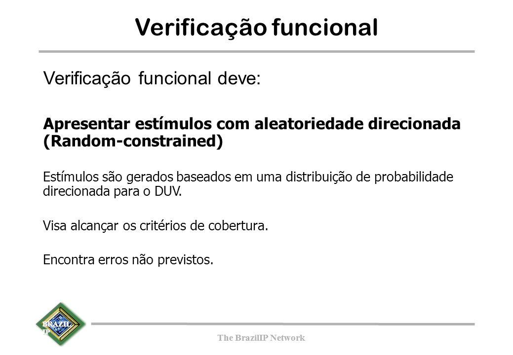 BRAZIL IP The BrazilIP Network BRAZIL IP The BrazilIP Network Verificação funcional Verificação funcional deve: Apresentar estímulos com aleatoriedade direcionada (Random-constrained) Estímulos são gerados baseados em uma distribuição de probabilidade direcionada para o DUV.