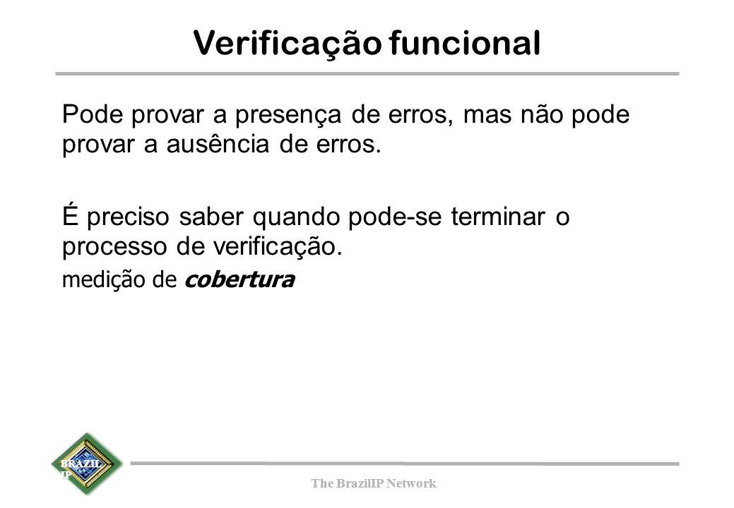 BRAZIL IP The BrazilIP Network BRAZIL IP The BrazilIP Network Verificação funcional Pode provar a presença de erros, mas não pode provar a ausência de erros.