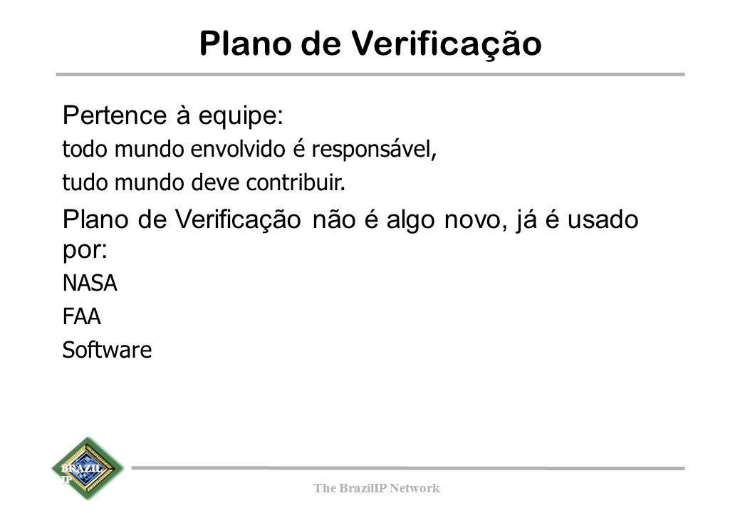 BRAZIL IP The BrazilIP Network BRAZIL IP The BrazilIP Network Plano de Verificação Pertence à equipe: todo mundo envolvido é responsável, tudo mundo deve contribuir.