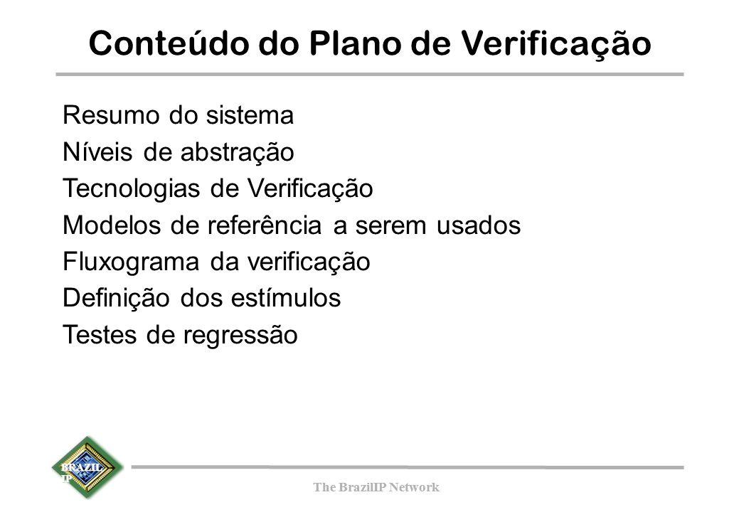 BRAZIL IP The BrazilIP Network BRAZIL IP The BrazilIP Network Conteúdo do Plano de Verificação Resumo do sistema Níveis de abstração Tecnologias de Verificação Modelos de referência a serem usados Fluxograma da verificação Definição dos estímulos Testes de regressão