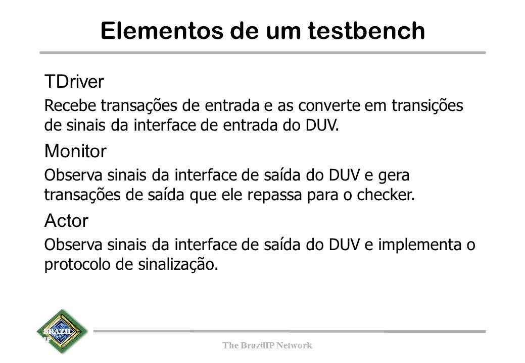 BRAZIL IP The BrazilIP Network BRAZIL IP The BrazilIP Network Elementos de um testbench TDriver Recebe transações de entrada e as converte em transições de sinais da interface de entrada do DUV.