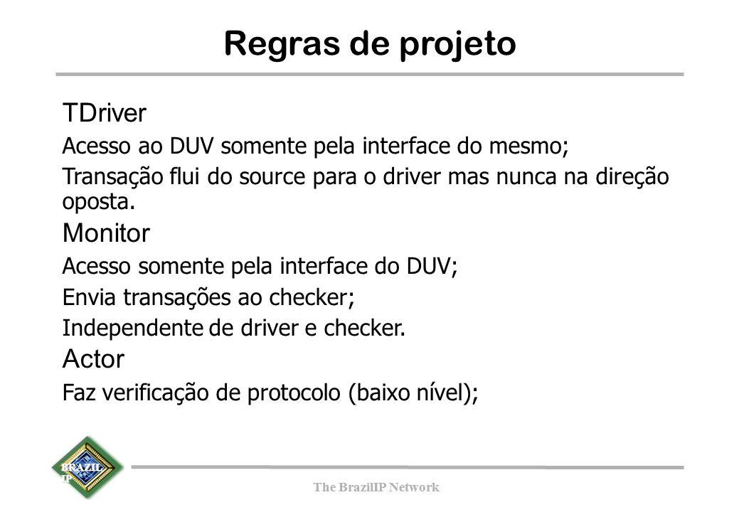 BRAZIL IP The BrazilIP Network BRAZIL IP The BrazilIP Network Regras de projeto TDriver Acesso ao DUV somente pela interface do mesmo; Transação flui do source para o driver mas nunca na direção oposta.