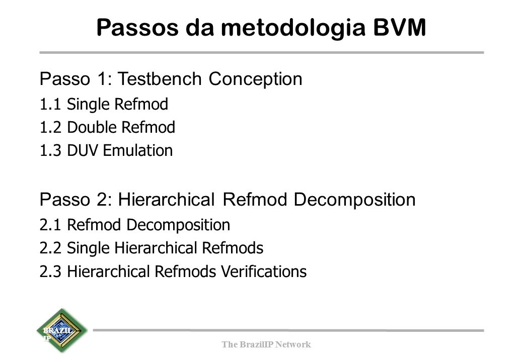 BRAZIL IP The BrazilIP Network BRAZIL IP The BrazilIP Network Passos da metodologia BVM Passo 1: Testbench Conception 1.1 Single Refmod 1.2 Double Ref