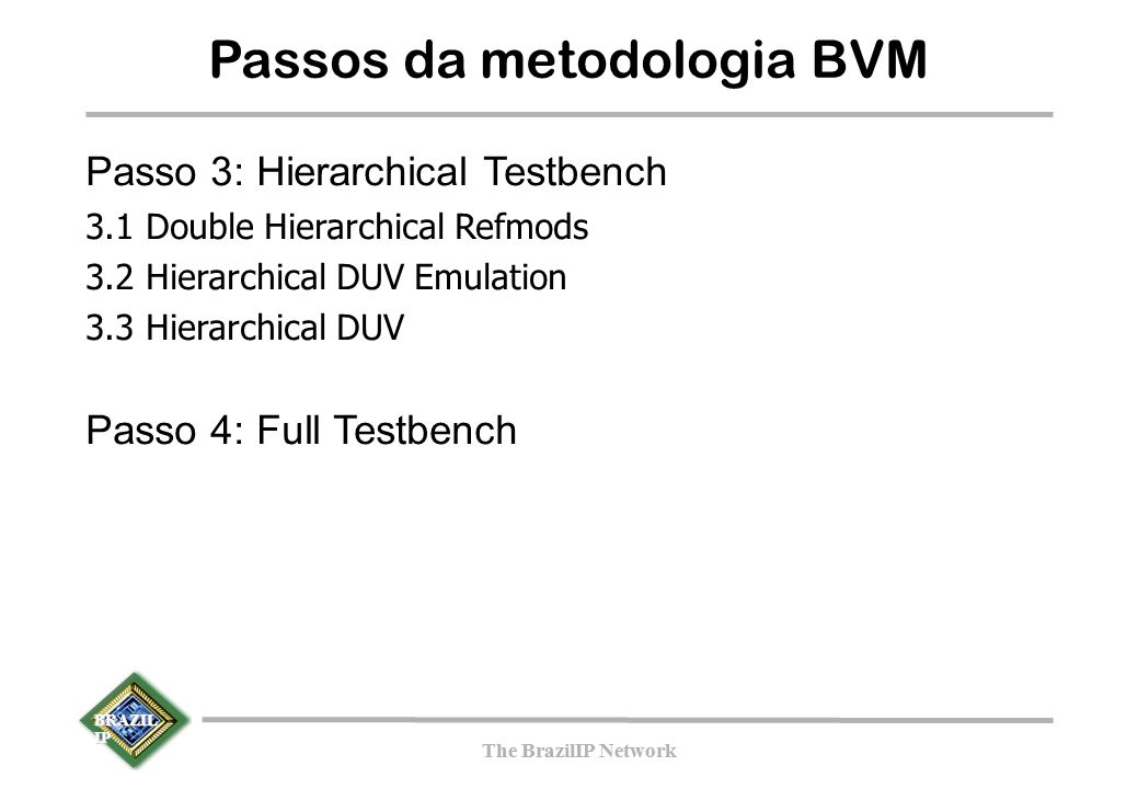 BRAZIL IP The BrazilIP Network BRAZIL IP The BrazilIP Network Passos da metodologia BVM Passo 3: Hierarchical Testbench 3.1 Double Hierarchical Refmod