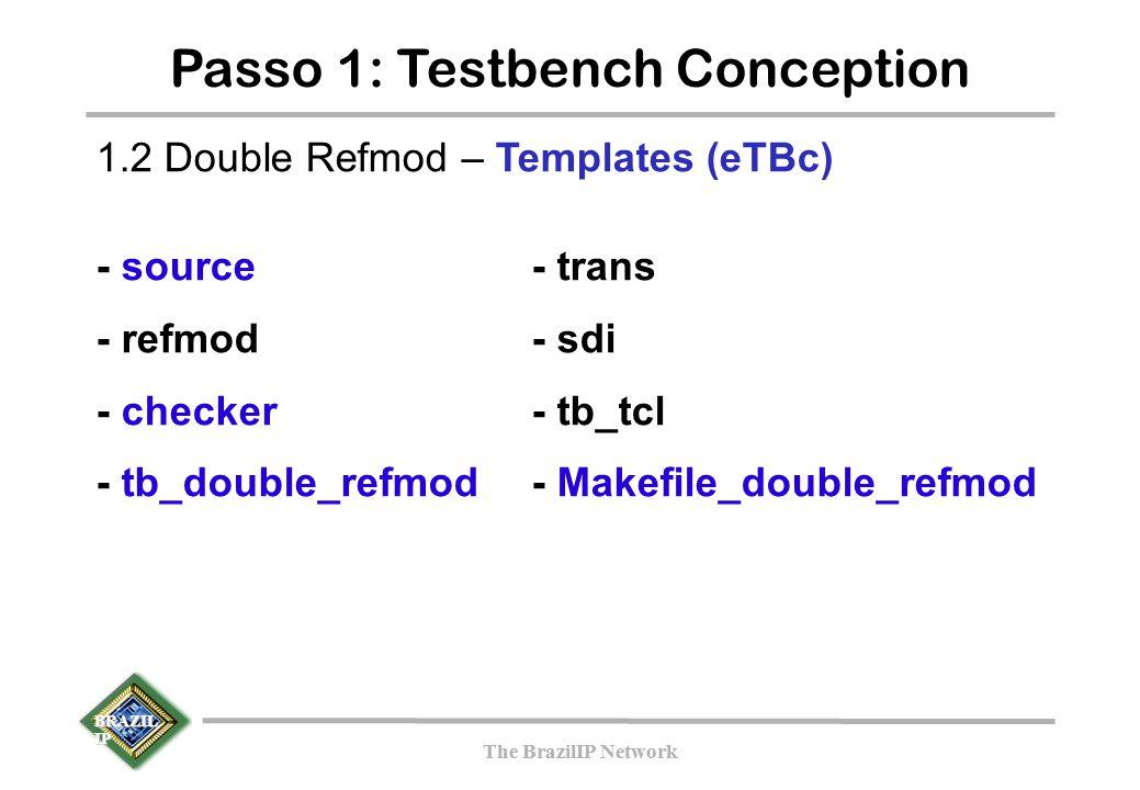 BRAZIL IP The BrazilIP Network BRAZIL IP The BrazilIP Network Passo 1: Testbench Conception 1.2 Double Refmod – Templates (eTBc) - source- trans - refmod- sdi - checker- tb_tcl - tb_double_refmod- Makefile_double_refmod
