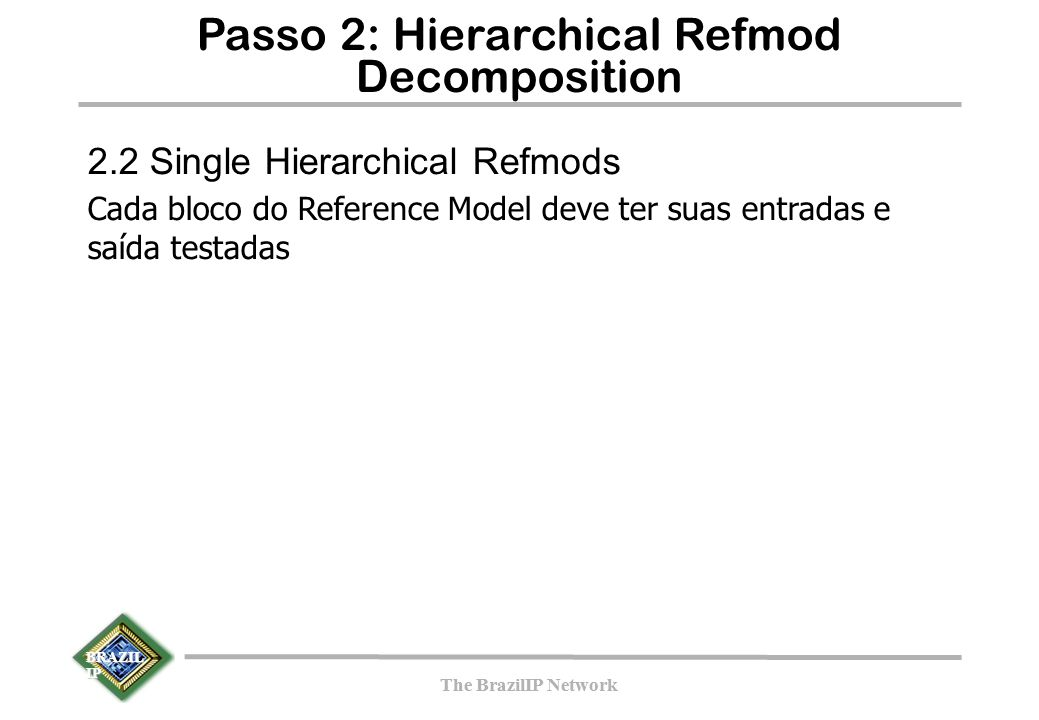 BRAZIL IP The BrazilIP Network BRAZIL IP The BrazilIP Network Passo 2: Hierarchical Refmod Decomposition 2.2 Single Hierarchical Refmods Cada bloco do