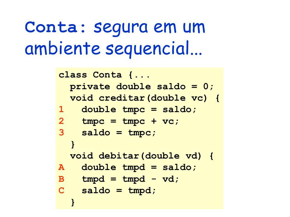 Conta: segura em um ambiente sequencial... class Conta {... private double saldo = 0; void creditar(double vc) { 1 double tmpc = saldo; 2 tmpc = tmpc