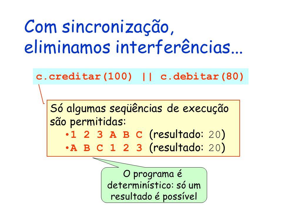Com sincronização, eliminamos interferências... c.creditar(100) || c.debitar(80) Só algumas seqüências de execução são permitidas: 1 2 3 A B C (result