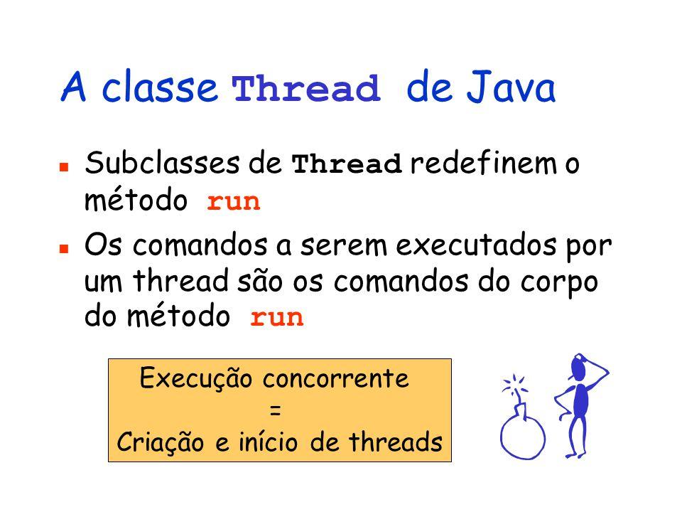 A classe Thread de Java Subclasses de Thread redefinem o método run Os comandos a serem executados por um thread são os comandos do corpo do método run Execução concorrente = Criação e início de threads