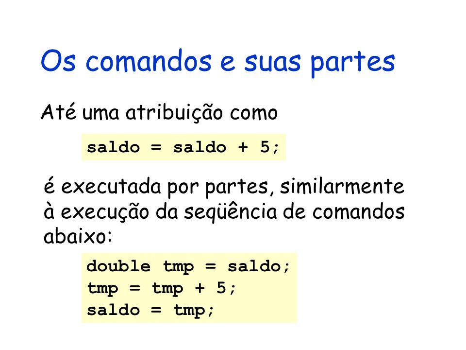 Os comandos e suas partes double tmp = saldo; tmp = tmp + 5; saldo = tmp; Até uma atribuição como saldo = saldo + 5; é executada por partes, similarmente à execução da seqüência de comandos abaixo: