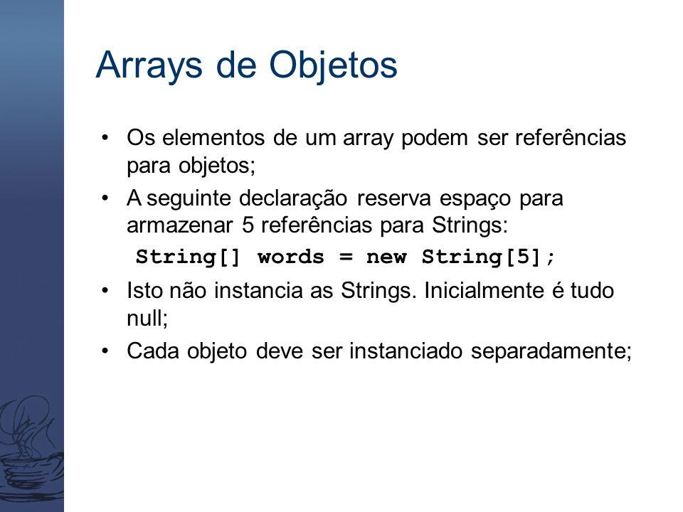 Arrays de Objetos Os elementos de um array podem ser referências para objetos; A seguinte declaração reserva espaço para armazenar 5 referências para Strings: String[] words = new String[5]; Isto não instancia as Strings.