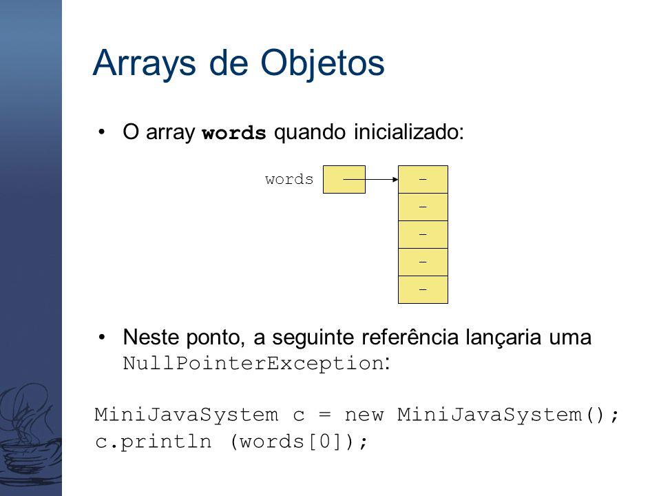 Arrays de Objetos O array words quando inicializado: words - - - - - Neste ponto, a seguinte referência lançaria uma NullPointerException : MiniJavaSystem c = new MiniJavaSystem(); c.println (words[0]);