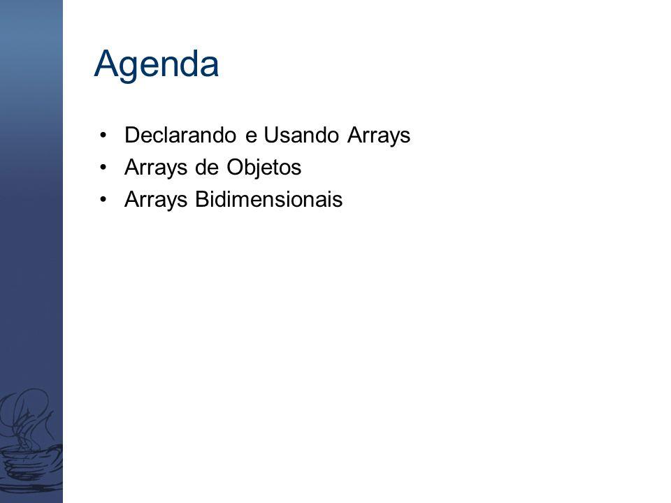 Agenda Declarando e Usando Arrays Arrays de Objetos Arrays Bidimensionais