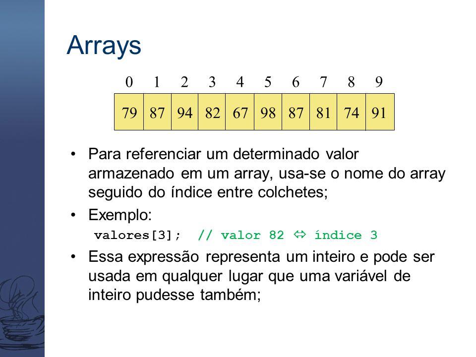 Arrays Para referenciar um determinado valor armazenado em um array, usa-se o nome do array seguido do índice entre colchetes; Exemplo: valores[3]; // valor 82  índice 3 Essa expressão representa um inteiro e pode ser usada em qualquer lugar que uma variável de inteiro pudesse também; 0 1 2 3 4 5 6 7 8 9 79 87 94 82 67 98 87 81 74 91