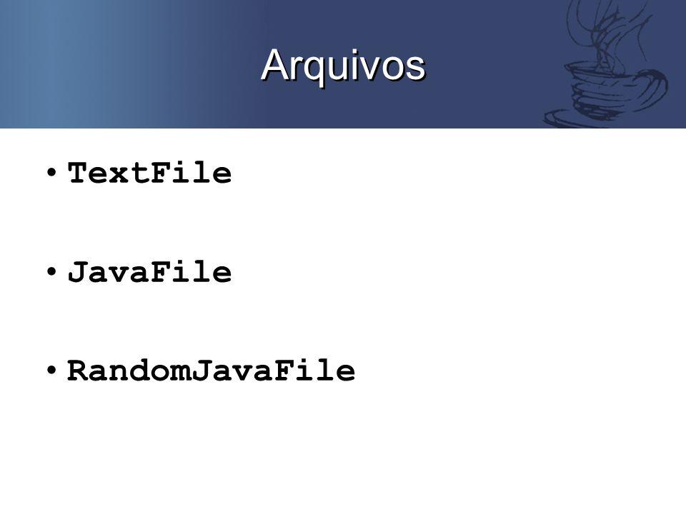 TextFile Arquivos texto Legíveis por um ser humano Unidade básica: char