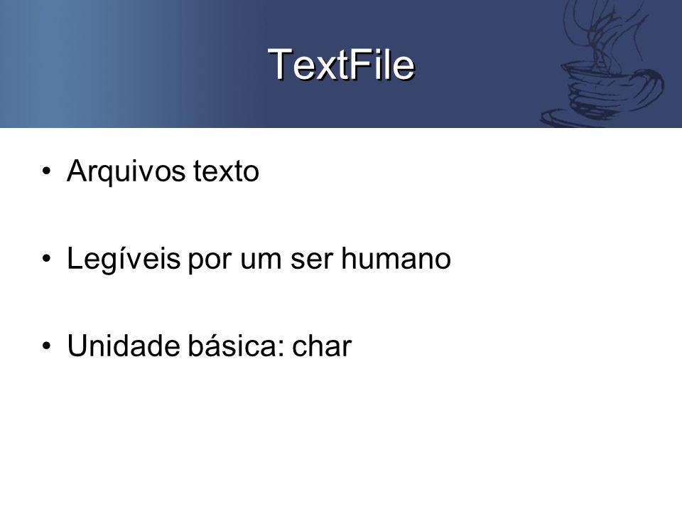 Exemplo TextFile public class TesteTextFile { public static void main(String args[]) { String str = Testando a classe TextFile ; try { TextFile arquivo = new TextFile( java.in , java.txt ); arquivo.writeString(str); arquivo.close(); } catch (FileNotFoundException e) { MiniJavaSystem console = new MiniJavaSystem(); console.println( O arquivo não foi achado! ); } catch (IOException e) { MiniJavaSystem console = new MiniJavaSystem(); console.println( Algum problema ocorreu. ); }