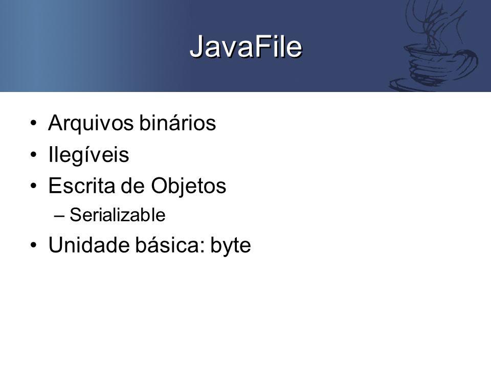 Exemplo public class TesteJavaFile { public static void main(String args[]) { Conta c1 = new Conta(123, 123-0 ); try { JavaFile arquivo = new JavaFile( java.in , java.txt ); arquivo.writeObject(c1); arquivo.close(); } catch (FileNotFoundException e) { MiniJavaSystem console = new MiniJavaSystem(); console.println( O arquivo não foi achado! ); } catch (IOException e) { MiniJavaSystem console = new MiniJavaSystem(); console.println( Algum problema ocorreu. ); }