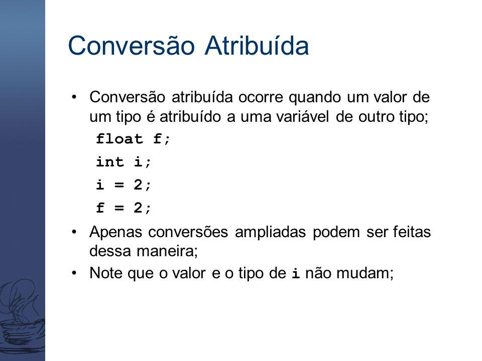 Conversão Atribuída Conversão atribuída ocorre quando um valor de um tipo é atribuído a uma variável de outro tipo; float f; int i; i = 2; f = 2; Apen