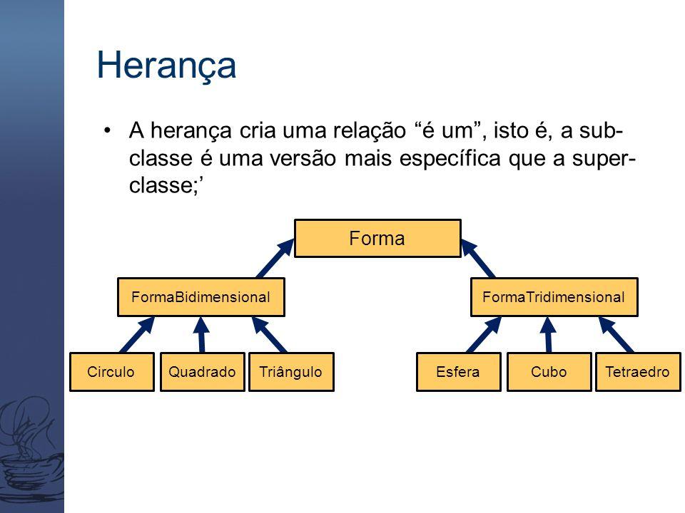"""Herança A herança cria uma relação """"é um"""", isto é, a sub- classe é uma versão mais específica que a super- classe;' Forma FormaBidimensionalFormaTridi"""