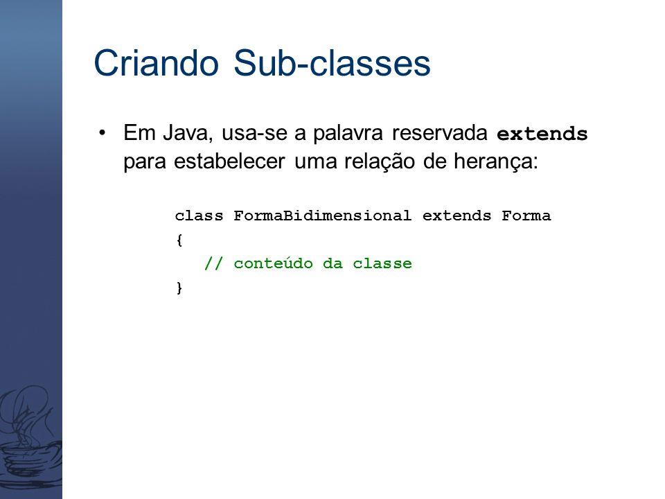 Criando Sub-classes Em Java, usa-se a palavra reservada extends para estabelecer uma relação de herança: class FormaBidimensional extends Forma { // c