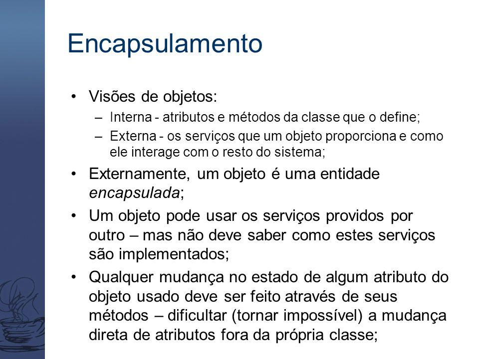 Encapsulamento Visões de objetos: –Interna - atributos e métodos da classe que o define; –Externa - os serviços que um objeto proporciona e como ele i