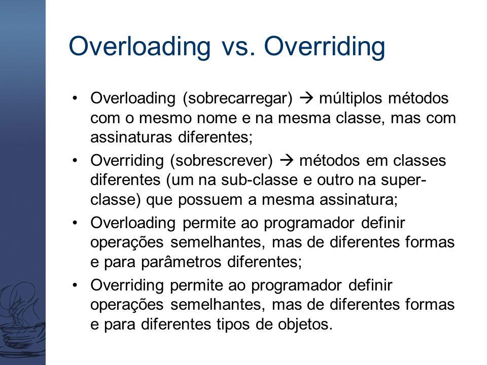 Overloading vs. Overriding Overloading (sobrecarregar)  múltiplos métodos com o mesmo nome e na mesma classe, mas com assinaturas diferentes; Overrid