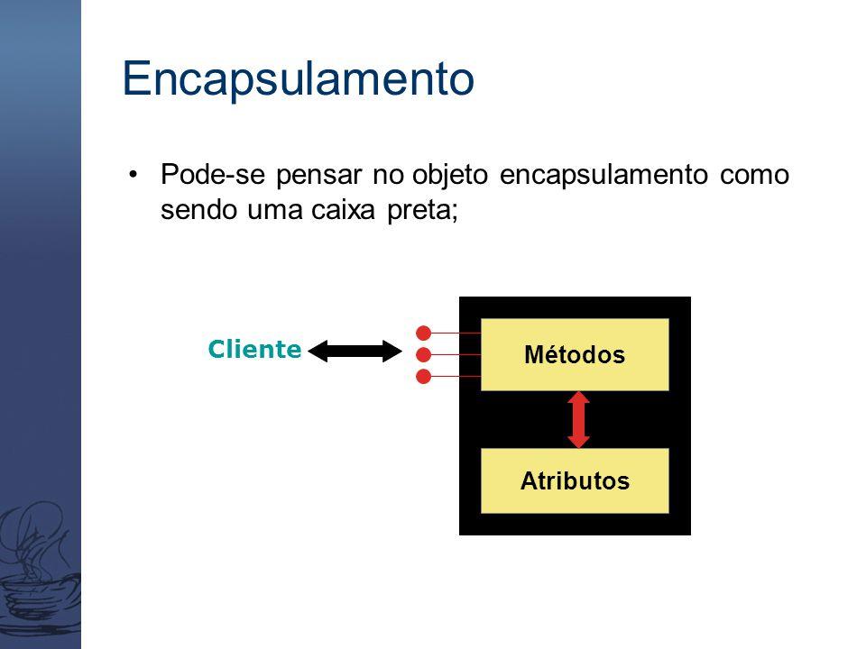 Encapsulamento Pode-se pensar no objeto encapsulamento como sendo uma caixa preta; Métodos Atributos Cliente