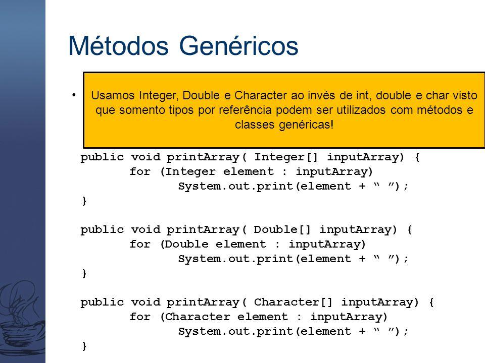 Métodos Genéricos Considere três métodos printArray sobrecarregados  esses métodos imprimem as representações de string dos elementos de um array de
