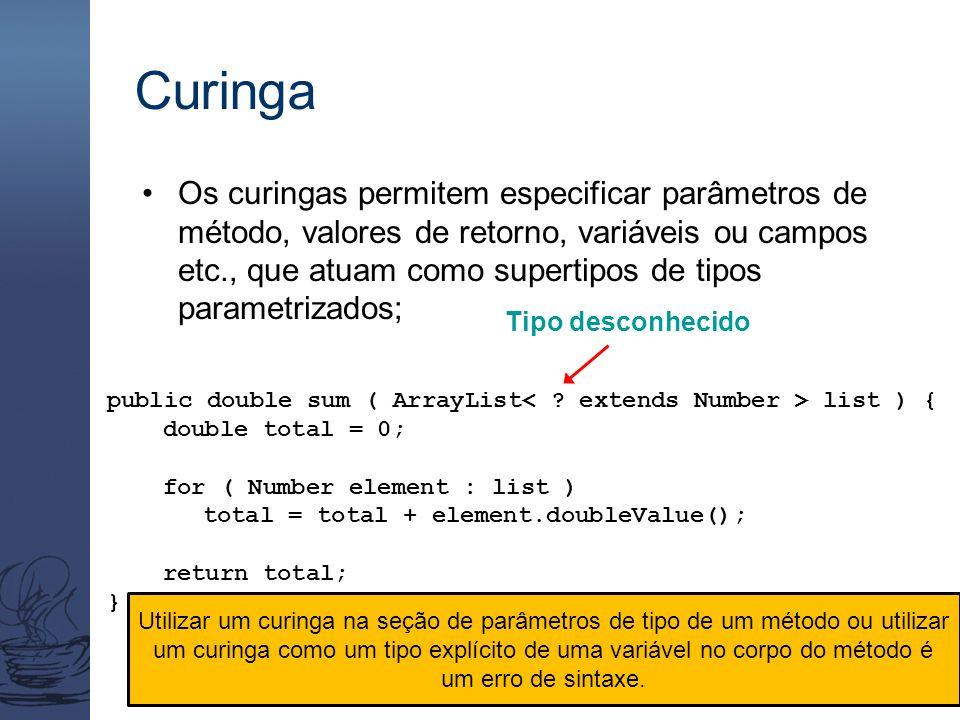 Curinga Os curingas permitem especificar parâmetros de método, valores de retorno, variáveis ou campos etc., que atuam como supertipos de tipos parame