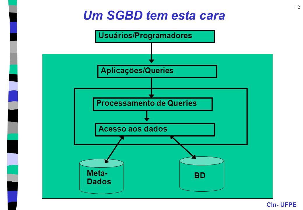 CIn- UFPE 12 Um SGBD tem esta cara Usuários/Programadores Aplicações/Queries Acesso aos dados Processamento de Queries Meta- Dados BD